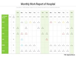 Monthly Work Report Of Hospital