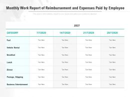 Monthly Work Report Of Reimbursement And Expenses Paid By Employee
