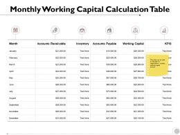Monthly Working Capital Calculation Table Management Strategy Ppt Powerpoint Presentation Deck