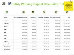 Monthly Working Capital Calculation Table Month Ppt Powerpoint Presentation Icon