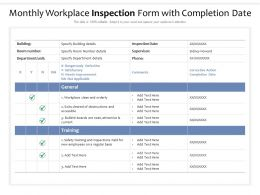 Monthly Workplace Inspection Form With Completion Date
