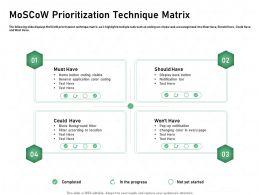 Moscow Prioritization Technique Matrix Color Coding Ppt Powerpoint Presentation Deck
