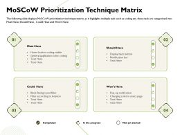 Moscow Prioritization Technique Matrix General Application Ppt Powerpoint Presentation Clipart