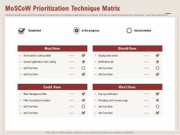 MoSCoW Prioritization Technique Matrix Notification Ppt Powerpoint Presentation Samples