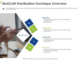 Moscow Prioritization Technique Overview Ppt Powerpoint Presentation Ideas Example