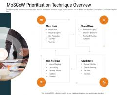 Moscow Prioritization Technique Overview Slide Foundation Ppt Powerpoint Presentation Styles Show