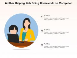 Mother Helping Kids Doing Homework On Computer