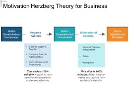 Motivation Herzberg Theory For Business Presentation Diagrams