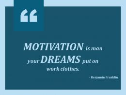 Motivation Is Man Your Dreams Put On Work Clothes Ppt Slides Designs