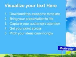 Motivation Signpost Business Metaphor PowerPoint Templates And PowerPoint Backgrounds 0911  Presentation Themes and Graphics Slide02