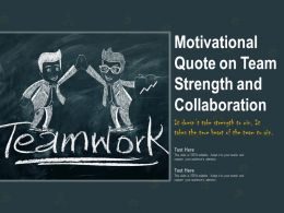 Motivational Quote On Team Strength And Collaboration