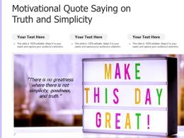 Motivational Quote Saying On Truth And Simplicity