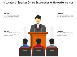 Motivational Speaker Giving Encouragement To Audience Icon