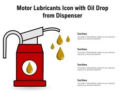 Motor Lubricants Icon With Oil Drop From Dispenser