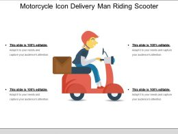 Motorcycle Icon Delivery Man Riding Scooter