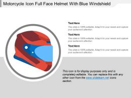 Motorcycle Icon Full Face Helmet With Blue Windshield