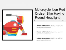 Motorcycle Icon Red Cruiser Bike Having Round Headlight