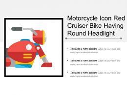 Motorcycle Icon Red Cruiser Bike Having Round Headlight
