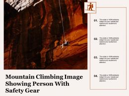 Mountain Climbing Image Showing Person With Safety Gear