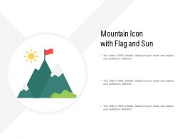 Mountain Icon With Flag And Sun