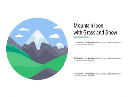 Mountain Icon With Grass And Snow