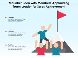 Mountain Icon With Members Applauding Team Leader For Sales Achievement