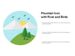 Mountain Icon With River And Birds