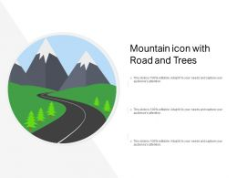 Mountain Icon With Road And Trees