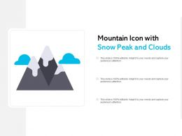 Mountain Icon With Snow Peak And Clouds