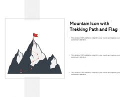 Mountain Icon With Trekking Path And Flag