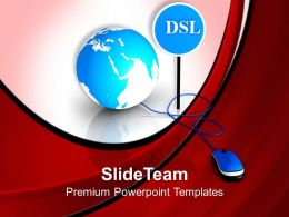 Mouse Connected To Globe And Dsl Internet Powerpoint Templates Ppt Themes And Graphics 0313