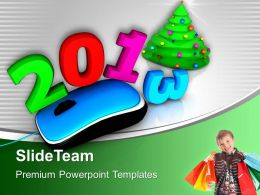 Mouse With 2013 Shopping Bags Christmas Tree Powerpoint Templates Ppt Themes And Graphics 0113