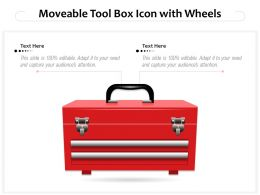 Moveable Tool Box Icon With Wheels