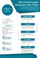 Movie Screenplay Summary One Pager Presentation Report Infographic PPT PDF Document