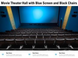 Movie Theater Hall With Blue Screen And Black Chairs