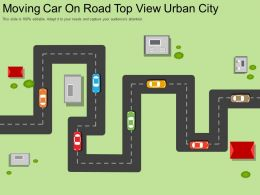 Moving Car On Road Top View Urban City