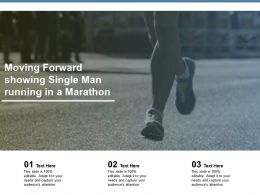 Moving Forward Showing Single Man Running In A Marathon