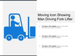 Moving Icon Showing Man Driving Fork Lifter