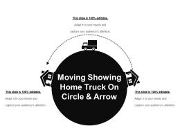 Moving Showing Home Truck On Circle And Arrow