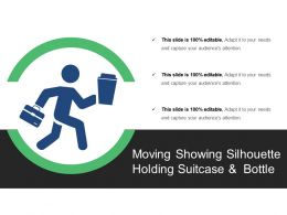 Moving Showing Silhouette Holding Suitcase And Bottle