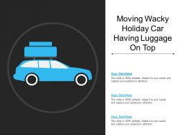 Moving Wacky Holiday Car Having Luggage On Top