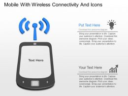 mp Mobile With Wireless Connectivity And Icons Powerpoint Template
