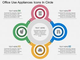 mp Office Use Appliances Icons In Circle Flat Powerpoint Design