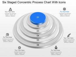 Mp Six Staged Concentric Process Chart With Icons Powerpoint Template Slide