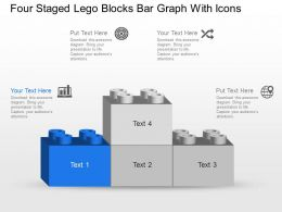 Mq Four Staged Lego Blocks Bar Graph With Icons Powerpoint Template Slide