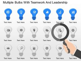 mq Multiple Bulbs With Teamwork And Leadership Powerpoint Temptate