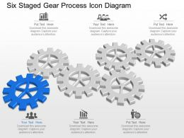Mq Six Staged Gear Process Icon Diagram Powerpoint Template Slide