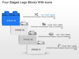 Mr Four Staged Lego Blocks With Icons Powerpoint Template Slide