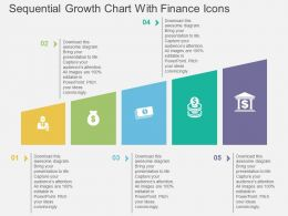 mr Sequential Growth Chart With Finance Icons Flat Powerpoint Design