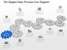 Mr Ten Staged Gear Process Icon Diagram Powerpoint Template Slide